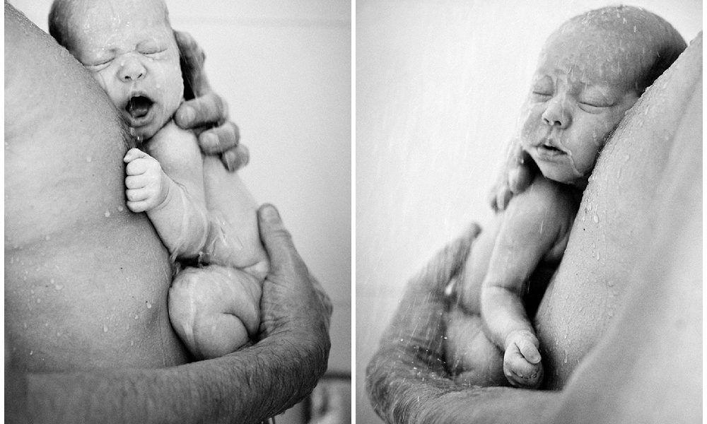 Pasgeboren onder de douche [fotograaf newborn Den Bosch]